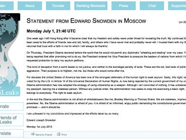 This screenshot made of the Wikileaks website shows a letter identified as being from NSA leaker Edward Snowden on Monday, July 1, 2013. The letter could not be independently authenticated as being from Snowden himself. Wikileaks is the anti-secrecy group that has adopted Snowden and his cause. AP Photo/Wikileaks