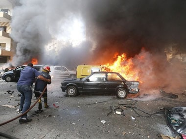 The car bomb blast in Beirut. AFP.