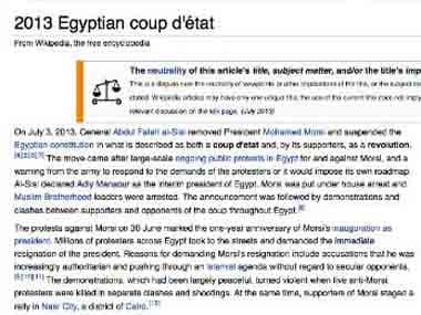 To coup or not to coup: Wikipedias battling it out over Egypt