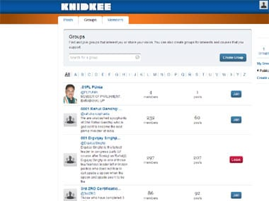 A screenshot of the 'groups' page.
