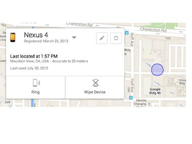 Screenshot of how the new Android Device Manager works.