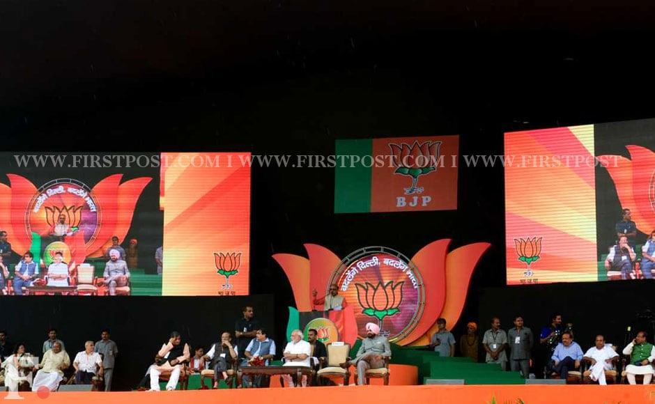 The stage for Modi's rally in Japanese Park in Rohini area of Delhi. Naresh Sharma/Firstpost.