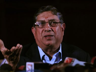 Srinivasan will remain in exile till the next AGM. AFP.