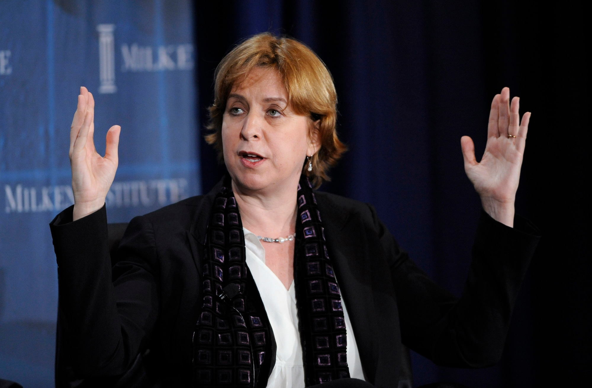 Vivian Schiller, president and CEO of NPR, participates in the 2010 Milken Institute Global Conference in Beverly Hills