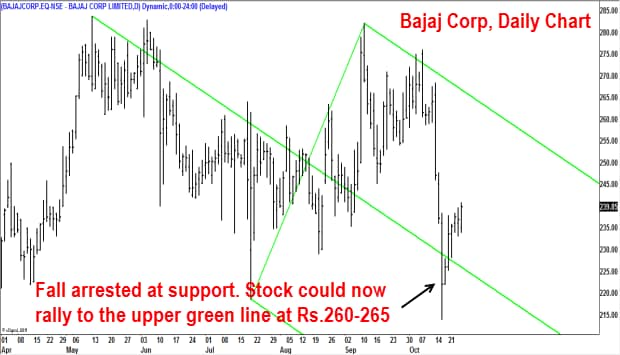 The sharp fall off the Oct. 8 high of Rs.276 was arrested at the support at Rs.210-215 range.