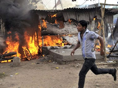 Ranvir Sena torched shops and destroyed property during the funeral of their chief Bharmeshwar Mukhia. PTI.