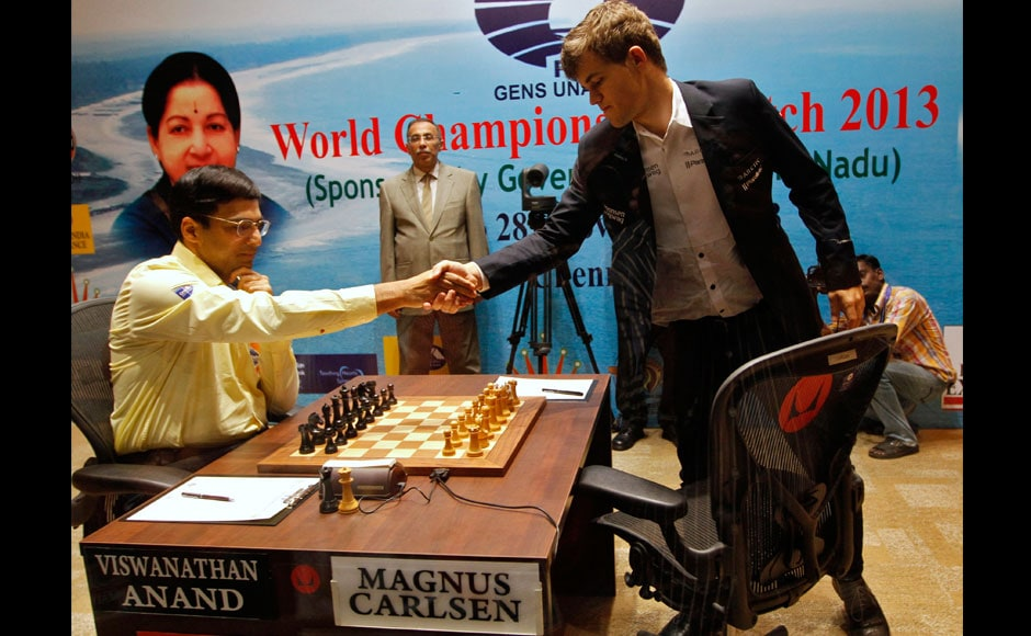 Photos: Carlsen beats Anand to become chess new king