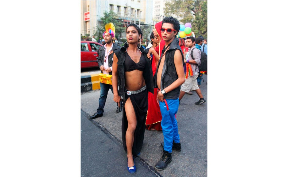 Members of the LGBT (lesbians, gays, bisexual and transgender) during Delhi Queer Pride parade  in New Delhi on Sunday. PTI