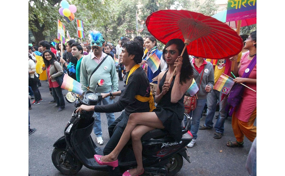 Lesbians, Gay, Bisexual and Trans-genders (LGBT) at the Delhi Queer Pride parade 2013 in New Delhi on Sunday. PTI