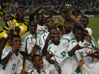 Nigeria's team players celebrate winning their U-17 World Cup UAE final soccer match against Mexico. Reuters