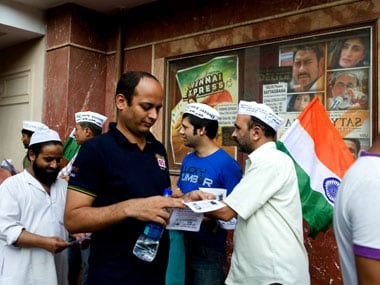 AAP volunteers during a campaign in Delhi. Firstpost/Naresh Sharma