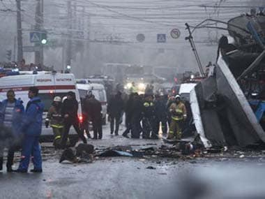 Bomb blast tears through trolleybus in Russian city, 10 dead
