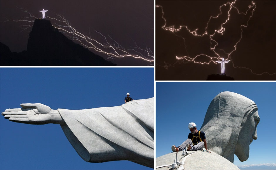 Photos: Lightning chips fingers, head of Rio's Christ statue