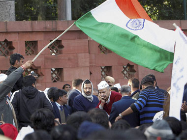 Arvind Kejriwal and Manish Sisodia at AAP sit-in protest in Delhi. PTI