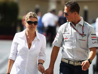 A file photo of Michael Schumacher and his wife, Corinna. Getty