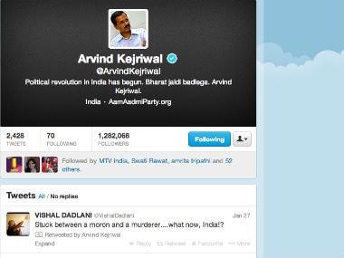 Screenshot of Arvind Kejriwal's Twitter timeline.