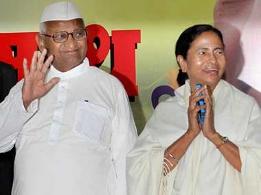 Social activist Anna Hazare with West Bengal Chief Minister Mamata Banerjee during a press conference in New Delhi on Wednesday. PTI