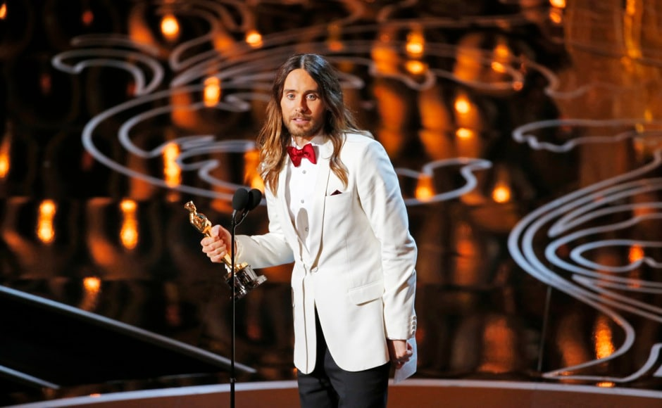 "Jared Leto, best supporting actor winner for his role in ""Dallas Buyers Club"", speaks on stage at the 86th Academy Awards in Hollywood, California March 2, 2014.  REUTERS"