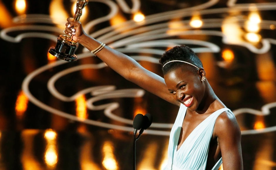"Lupita Nyong'o, best supporting actress winner for her role in ""12 Years a Slave"", speaks on stage at the 86th Academy Awards in Hollywood, California March 2, 2014.  REUTERS"