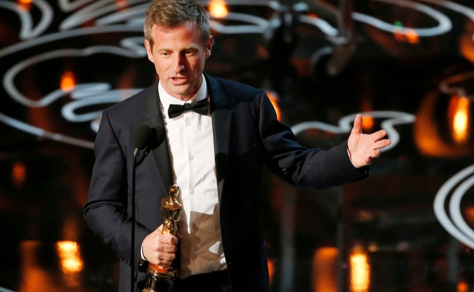 "Spike Jonze, winner original screenplay for ""Her"", speaks on stage at the 86th Academy Awards in Hollywood, California March 2, 2014.  REUTERS"