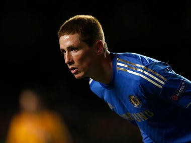 Chelsea's Fernando Torres waits for a corner during their Europa League soccer match against Sparta Prague at Stamford Bridge in London