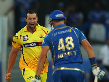 Ben Hilfenhaus celebrates the wicket of Michael Hussey of the Mumbai Indians during match 13 of the Pepsi Indian Premier League Season 7 between the Chennai Superkings and the Mumbai indians. BCCI