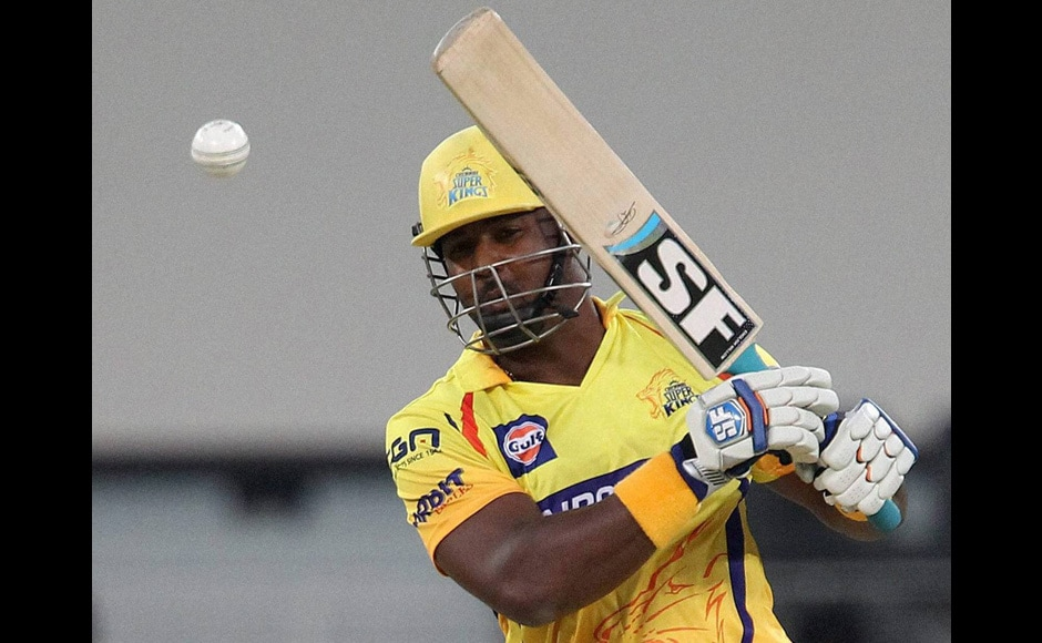 Dwayne Smith of The Chennai Super kings plays a shot during an IPL 7 match against Rajasthan Royals in Dubai on Wednesday. PTI Photo/BCCI