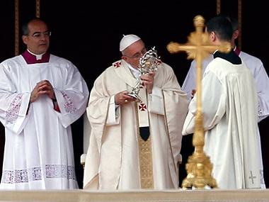 Pope Francis presides over historic day of four popes