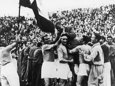 10th June 1934: The Italian World Cup squad carry their manager, Vittorio Pozzo, shoulder high following their 2-1 victory over Czechoslovakia. Getty Images