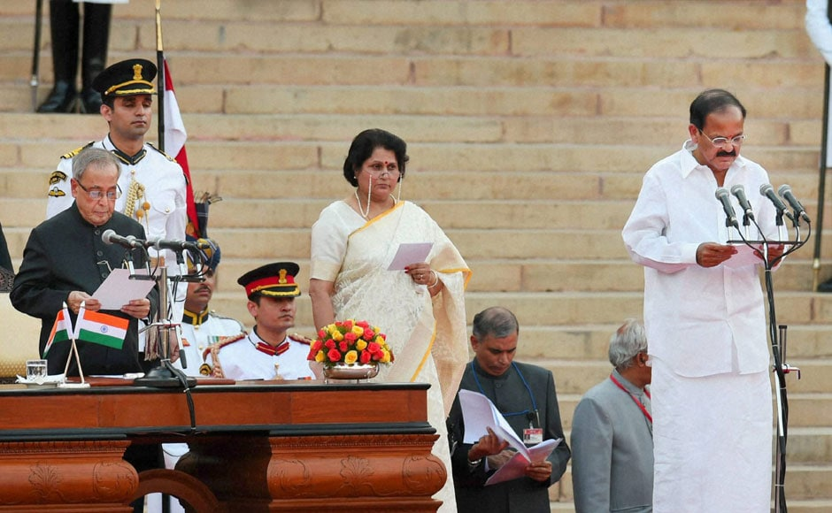 M Venkaiah Naidu during the swearing-in ceremony. PTI