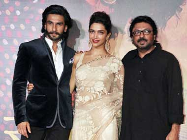(From left to right) Ranveer Singh, Deepika Padukone, Sanjay Leela Bhansali. AFP