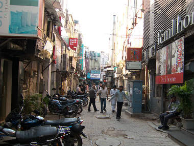 Khan market in this image from Wikimedia commons.