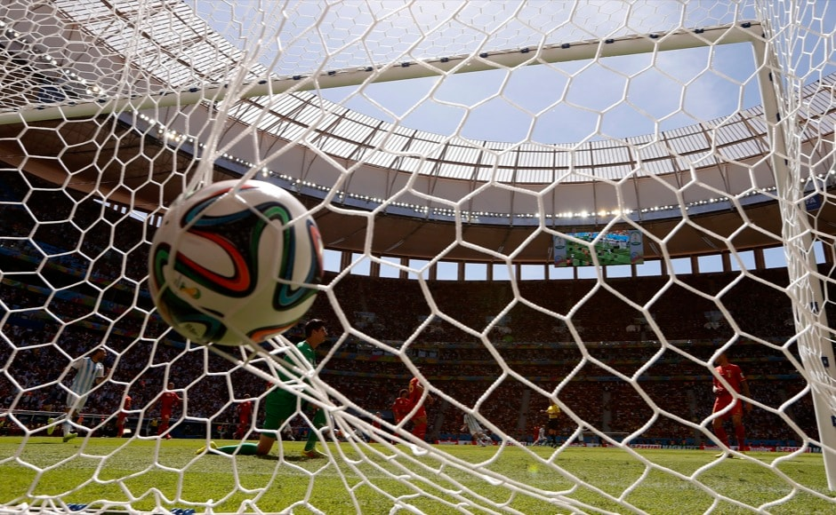 Argentina's Gonzalo Higuain (not pictured) scores a goal past  Belgium's goalkeeper Thibaut Courtois during their 2014 World Cup quarter-final soccer match at the Brasilia national stadium in Brasilia July 5, 2014.    REUTERS