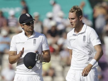 Alastair Cook and Stuart Broad during the match. AP