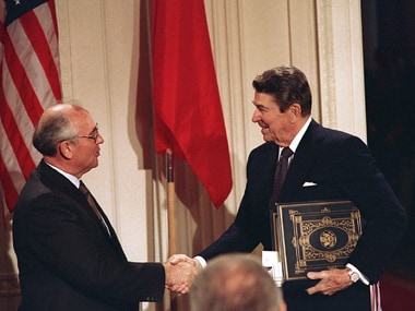 This December 8, 1987, file photo shows US President Ronald Reagan (right) shakes hands with Soviet leader Mikhail Gorbachev after signing the nuclear missile treaty. AP