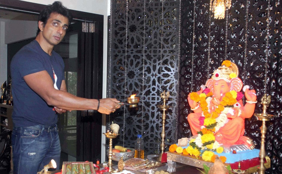 Mumbai: Bollywood actor Sonu Sood offers prayers to a Ganesh idol at his residence on the occasion of Ganesh Chaturthi, in Mumbai on Friday. PTI