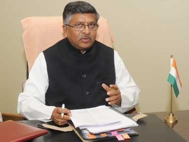 Union Law Minister Ravi Shankar Prasad. Image courtesy: PIB