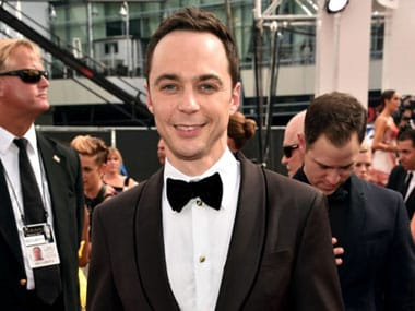 Jim Parsons before hitting the red carpet for Emmys  2014. AFP.