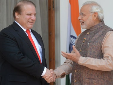 Nawaz Sharif with Narendra Modi earlier in the year. AFP.