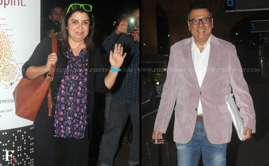 Director of 'Happy New Year' Farah Khan and cast member Boman Irani looked cheerful despite the early hour. Farah's green-framed sunglasses certainly reflect her mood. Sachin Gokhale/Firstpost