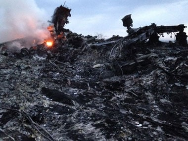 Crash site of Malaysian Airlines flight MH17. AP