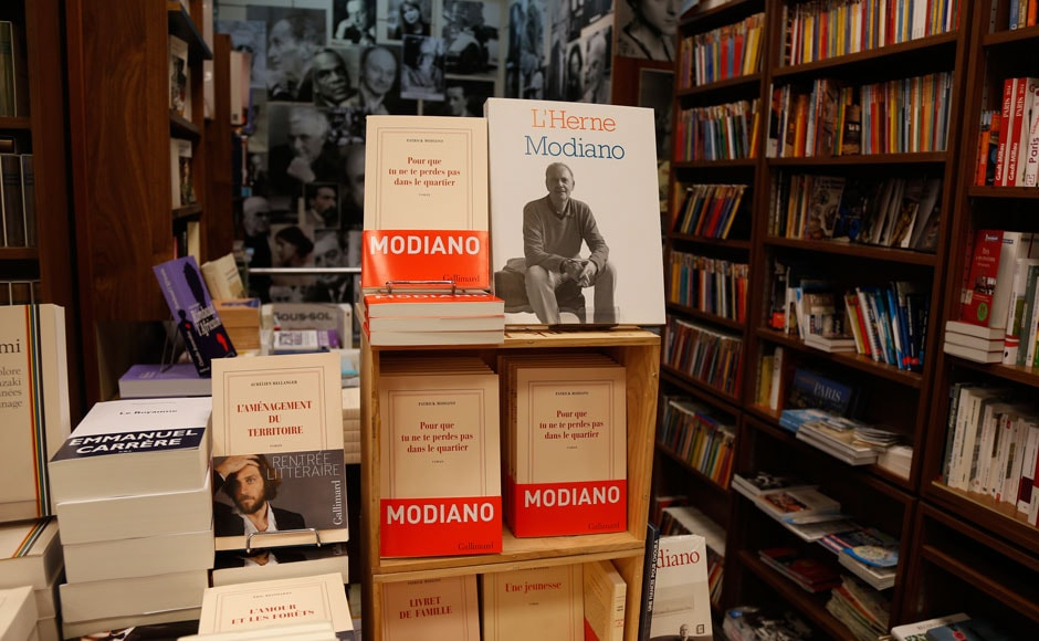 "Books by French writer Patrick Modiano are displayed at the bookstore of French publishing house Gallimard in Paris October 9, 2014. French writer Patrick Modiano has won the Nobel Prize for Literature as ""a Marcel Proust of our time,"" The Swedish Academy said on Thursday. The academy said the award of 8 million Swedish crowns ($1.1 million) was ""for the art of memory with which he has evoked the most ungraspable human destinies and uncovered the life-world of the occupation"".     REUTERS"