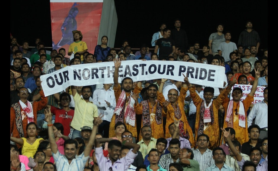 Fans during match 2 of the Hero Indian Super League between NorthEast United FC and Kerala Blasters FC held at the Indira Gandhi Stadium, Guwahati, India on the 13th October 2014. Photo by:  Saikat Das/ ISL/ SPORTZPICS