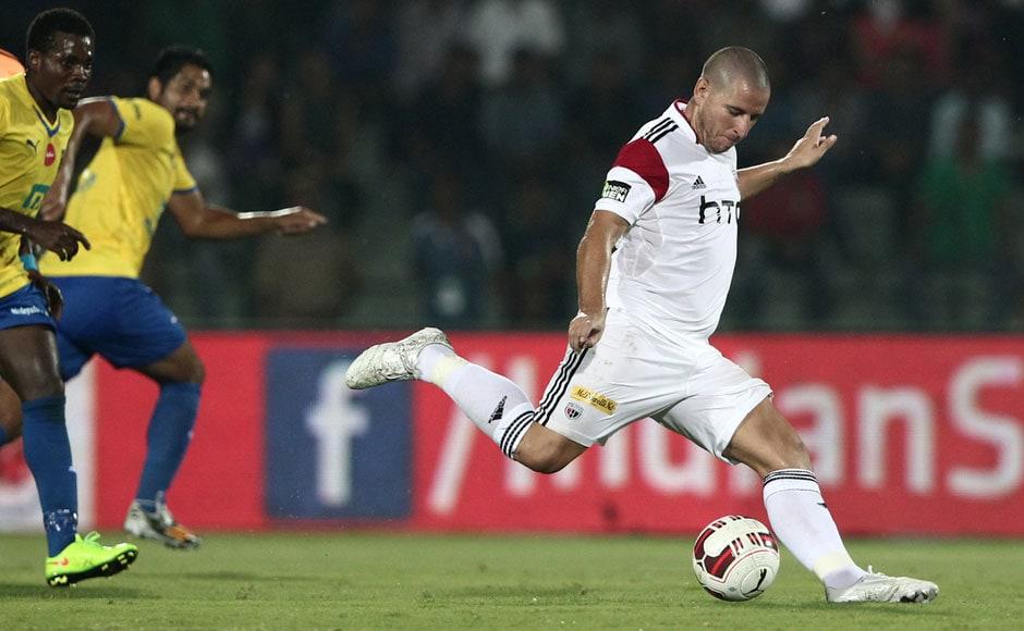 Spanish striker Koke scores to put NorthEast united in the lead. Sportzpics/ISL