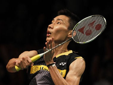 Malaysia's Lee competes against Indonesia's Rumbaka during their men's singles semi final match at the Djarum Indonesia Open badminton tournament in Jakarta