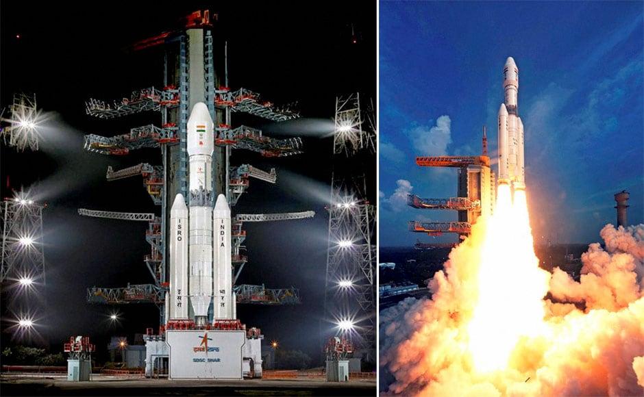 ISRO's GSLV-Mark III rocket lifts off during a test flight. PTI