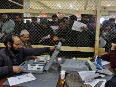 Election official counting in Srinagar. AP