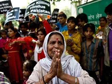 Hindu refugees from Pakistan protest in New Delhi. AFP