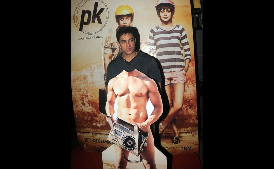 Really Aamir? PK star poses with cardboard cutout of his nude poster