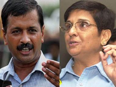 Aam Aadmi Party chief Arvind Kejriwal and BJP's CM candidate Kiran Bedi